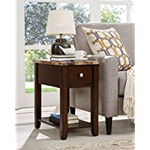 Roundhill Furniture Chair/End Table, Espresso