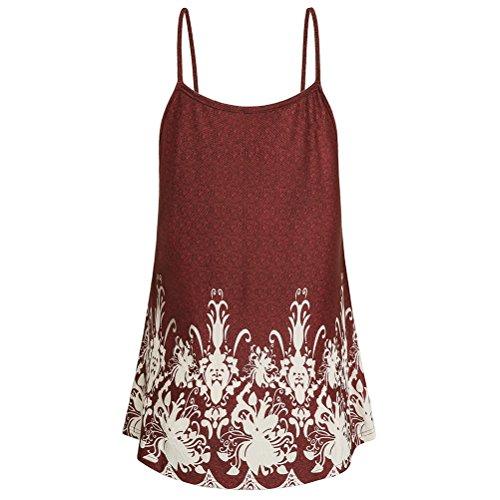 Réservoir Zhhlinyuan Dames D'été En Tête Shorts Longueur Du Genou Imprimé De Dentelle De Mode Ample Jupe Élégante De Style Robe De Soirée 1 Vin Rouge