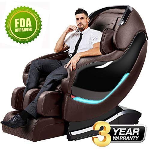 (Massage Chair Recliner, Space Capsule Brilliant Luxurious Serial Zero Gravity SL-Track Full Body Shiatsu Electric Massage Chair with Stretched Tapping Mode Heating Back and Foot Use (Brown))
