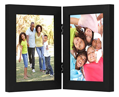 Americanflat 5x7 Hinged Picture Frame with Glass Front - Display 2 5x7 Pictures - Stand Vertically on Desktop or Tabletop