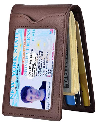 RFID Blocking Wallet for Men - Genuine Leather Slim Bifold F