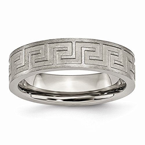 ICE CARATS Titanium Greek Key 6mm Wedding Ring Band Size 6.00 Designed Fashion Jewelry Ideal Gifts For Women Gift Set From Heart by ICE CARATS