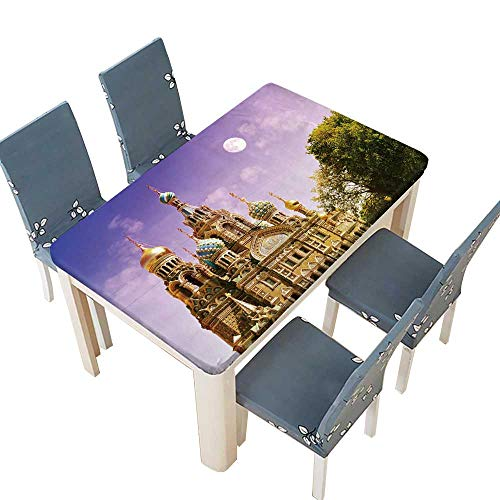 (PINAFORE Indoor/Outdoor Polyester Tablecloth Church of The Saviour on Spilled Blood or Cathedral of The Resurrection of Christ for Dining Room W57 x L96.5 INCH (Elastic Edge) )
