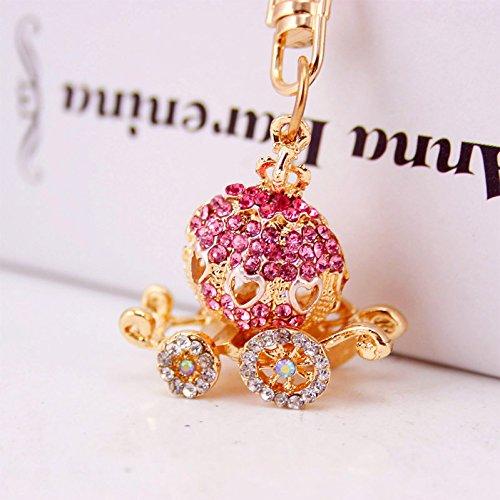 Cute Mini Pumpkin Carriage Cinderella Rhinestone Keyring Charm Pendant Bag Key Ring Keychain (Pink)