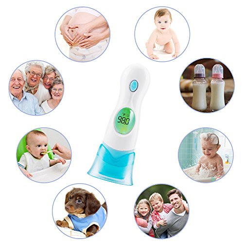 Forehead and Ear Digital Thermometer, Non-Contact Infrared Temperature Meter, Instant Reading, 8 in 1 Multi-Functional, for Body, Surface & Room Measurement, Baby & Home Helper