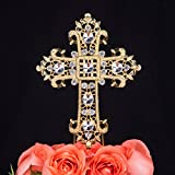 LOVENJOY Gift Box Pack Cross Rhinestone Crystal Gold Cake Decoration Topper for Wedding Religious Baptism Christening First Communion Confirmation (3.5-inch wide)