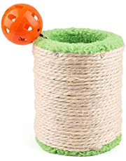PrimePets Natural Sisal Cat Scratching Post, Cat Scratcher Post Carpet, Hollow Cat Scratch Post Plush Roller with Interactive Cat Jingle Bell Toy, Kitten Claws Sharpener
