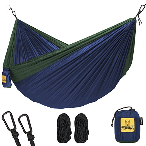 Hammock for Camping Single & Double Hammocks - Top Rated Best Quality Gear For The Outdoors Backpacking Survival or Travel - Portable Lightweight Parachute Nylon SO Navy & Forrest