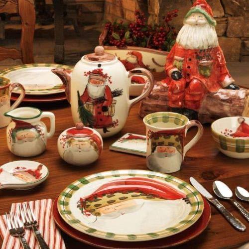 Vietri Old St. Nick Sugar Jar w/Lid, Premium Quality Ceramic Kitchenware for Christmas