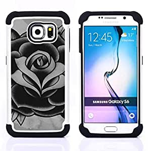 For Samsung Galaxy S6 G9200 - rose black white grey ink tattoo petal Dual Layer caso de Shell HUELGA Impacto pata de cabra con im????genes gr????ficas Steam - Funny Shop -