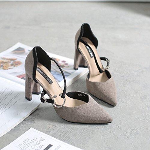 il donna grassetto Il i grigio 36 scarpe singolo scarpe cacciavite e a alti scarpe con tacchi punta qg11px