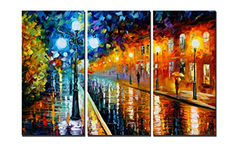 Natural art - The Raining Street at Night Knife Modern Canvas, Abstrat Painting Print Art, Wall Art for Home Decorations, Wall Décor, Wooden frame, Easy to Hang, 3pcs/set