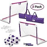 Morvat Soccer Goal Set for Backyard, Soccer Net, Soccer Goals for Kids, Soccer Accessories, Pop Up Soccer Goals Set of 2,   Includes 2 Goal Nets, Balls and More, Pink and Purple