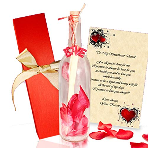 Message Bottle Wedding Invitations - Message In A Bottle Gift - Heart of Roses Personalized Letter with Your Own Words