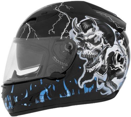 Cyber Helmets Lethal Threat US-97 Good-N-Evil Helmet , Helmet Type: Full-face Helmets, Helmet Category: Street, Distinct Name: Good N Evil Blue, Primary Color: Black, Size: Sm, Gender: Mens/Unisex 640771