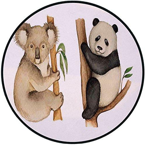 Printing Round Rug,Panda,Koala and Panda Sitting on Trees Wild Life Tropics Habitat Woodland Illustration Mat Non-Slip Soft Entrance Mat Door Floor Rug Area Rug For Chair Living Room,Beige Black