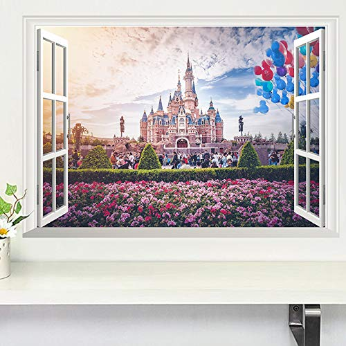 Best Choise Product 3D Vivid Window Princess Castle Flower Wall Stickers for Kids Rooms Girls Bedroom Decorations Home PVC Decals Mural Art Posters