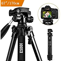 Camera Tripod ESDDI 67 /170cm Compact Aluminum Lightweight Tripod Compatible DSLR SLR Canon Nikon Sony Olympus DV Carry Bag