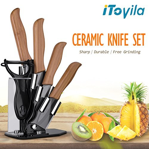 Ceramic Knife Set Bamboo Handle 6 Pieces-3, 4, 5, 6 inch Kitchen Cutlery Knife Set