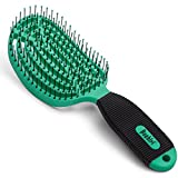NuWay 4Hair! U.S. Patented Professional Detangling! DoubleC is Double Curved! Best Brush for Applying Any Hair Product! Vented Back – Built-in Anti-Bacterial – Hair Dryer Safe. (Green)