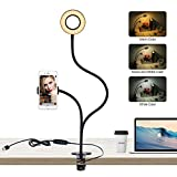 Selfie Ring Light with Cell Phone Holder Stand for Live Stream and Makeup, LED Camera Light with 3 Light Modes 10-Level Brightness and Flexible Long Arms for Youtube, Facebook, iphone, Samsung, HTC