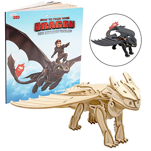 Dragon Set Models - DreamWorks How to Train Your Dragon: Hidden World Toothless Book and 3D Wood Model Figure Kit - Build, Paint and Collect Your Own Wooden Model - Great for Kids and Adults, 8+ - 7
