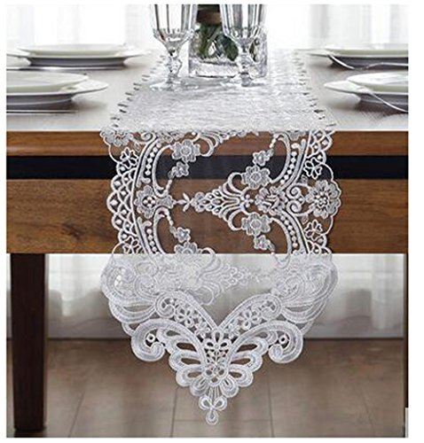 """WSHINE Lace Table Runner And Dresser Scarf Embroidered Flower Tablecloth Party Home Decor Supplies (white, 10.2"""" 59.1"""")"""