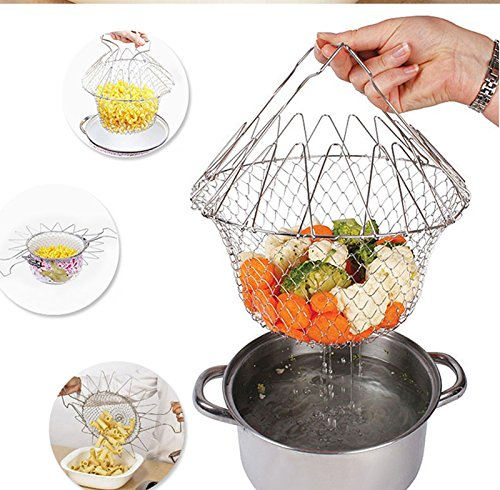 Lucrative shop 1Pc High Quality Foldable Steam Rinse Strain Fry French Chef Basket Magic Basket Fire Magic Automatic Timer