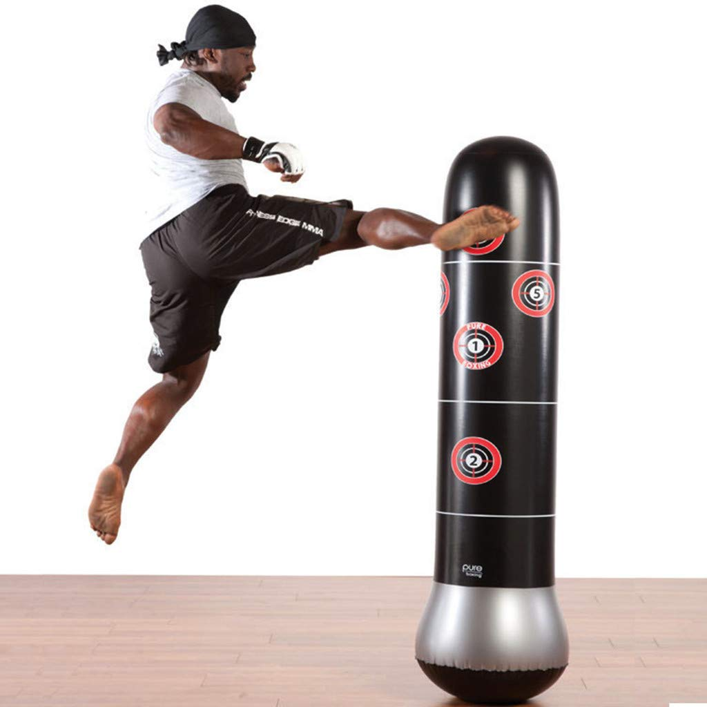 Tronet Kids Boxing Gloves and Punching Bag Inflatable Boxing Tower for Adult Children Sandbags PVC Fitness Training New 1.6 (Black) by Tronet (Image #2)