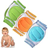 Baby Knee Pads for Crawling (3 Pairs) - Adjustable Breathable Waterproof Safety Protector for Babies, Toddlers, Infants, Boys