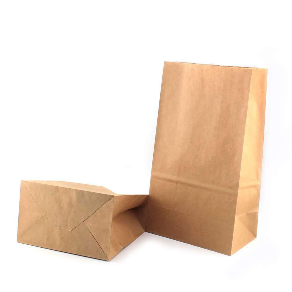 RUBY- 50 Kraft Bolsa de Papel marrón con base/bolsas de fiesta/calendario de adviento (18cm x 11cm x 32cm)