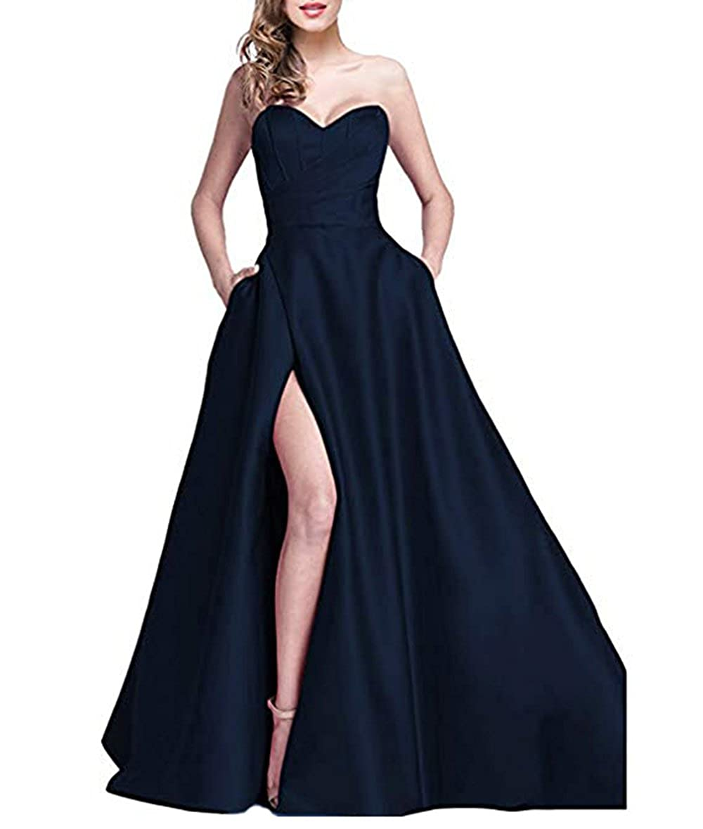 Bnavy alilith.Z Sexy Sweetheart Side Slit Beaded Prom Dresses Long Formal Evening Dresses Party Gowns for Women with Pockets