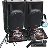 Serato Software DJ System - Numark MixTrack Pro III - 2400 Watts of Powered DJ Speakers w/Stands, 2 Wireless Microphones and Headphones