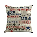 Kinglly Home 4th of July Independence Day Embroidery Pillow Covers Patriotic Decorations American 18'' x 18''