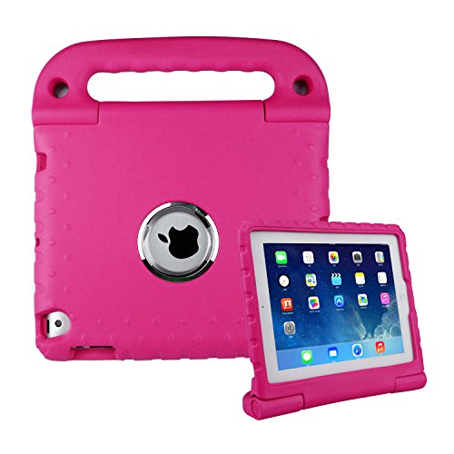 iPad 2 3 4 Kids Case - SIMPLEWAY Kids Friendly Stand Handle Light Weight Shock Proof Durable Portable Convertible Toddler Case for iPad 2/3/4 Tablet,Rose (Otter Case For Ipad 4 Generation)