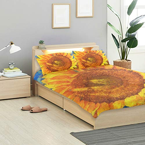 (IDO Sunflowers Oil Painting Kids Bedding Comforter Cover Sets Ultra Soft Crystal Velvet Cotton Satin Hotel Collection-Decorative 3 Piece Bedding Set with 2 Pillow Shams, Multicolor)