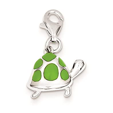 925 Sterling Silver Green Enameled Turtle Charm Pendant 15mm x 16mm