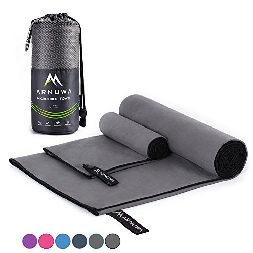 (Arnuwa Microfiber Sports Towel Quick Dry Ultra Absorbent Compact Antibacterial, Gray/Black L)