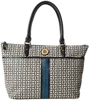 Tommy Hilfiger Coated Classics Tote Travel Tote,Black/Cream,One Size