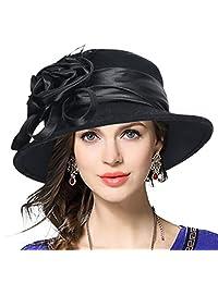 Ladies Wool Church Dress Cloche Hat Floral Felt Bucket Hat