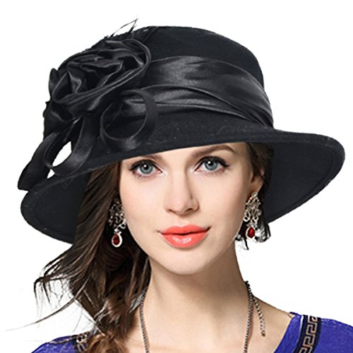 Black Wool Felt Dress Hat - VECRY Women's Wool Church Dress Cloche Hat Plumy Felt Bucket Winter Hat (Floral-Black)