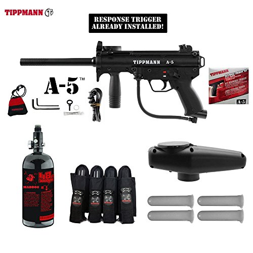 MAddog Tippmann A5 A-5 w/Response Trigger Advanced Paintball Gun Package - Black