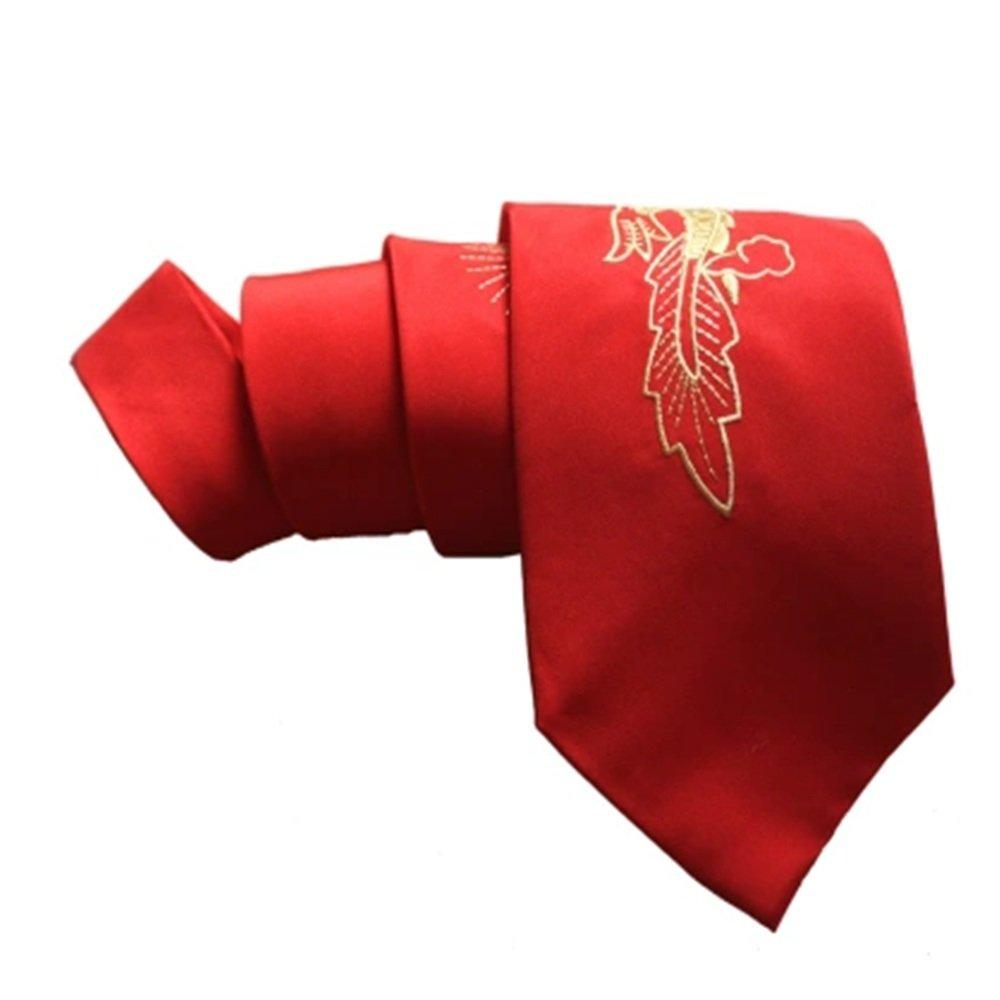 Y-WEIFENG Corbata de Hombre Dragón Chino Rojo Corbata de Negocios ...
