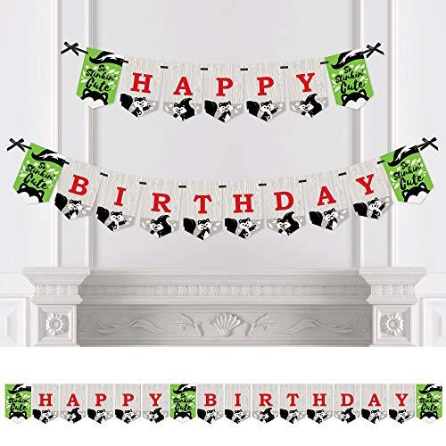 Skunk Stinker - Big Dot of Happiness Little Stinker - Woodland Skunk Birthday Party Bunting Banner - Birthday Party Decorations - Happy Birthday