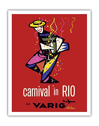 Varig Airlines - Pacifica Island Art Carnival in Rio - Rio de Janeiro, Brazil - via Varig Airlines - Vintage Airline Travel Poster - Fine Art Print - 11in x 14in