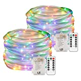 LE LED Rope Lights with Remote, Battery Powered, Dimmable, Waterproof, 33 ft 120 LED, Daylight White, Indoor Outdoor Light Ropes and Strings for Deck, Patio, Bedroom, Boat, Camping Lighting and More