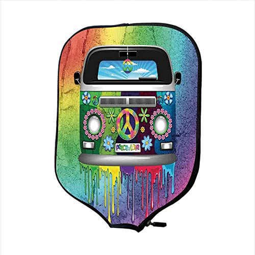 Paint Face Theme (Neoprene Pickleball Paddle Racket Cover Case,Groovy Decorations,Old Style Hippie Van with Dripping Rainbow Paint Mid 60s Youth Revolution Movement Theme,Multi,Fit For Most Rackets - Protect Your Paddl)