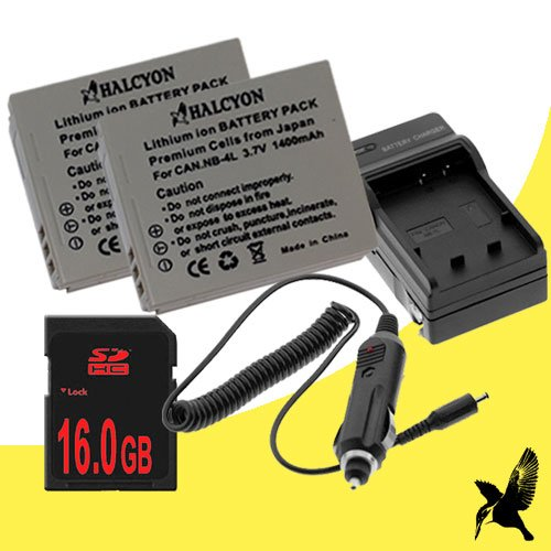 Two Halcyon 1400 mAH Lithium Ion Replacement Battery and Charger Kit + 16GB SDHC Class 10 Memory Card for Canon Powershot SD430 5MP Digital Camera and Canon NB-4L