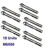 Drenky M6x60mm Stainless Steel Sleeve Expansion Anchor Bolts Screws, with Flat Washer and Hex Nut