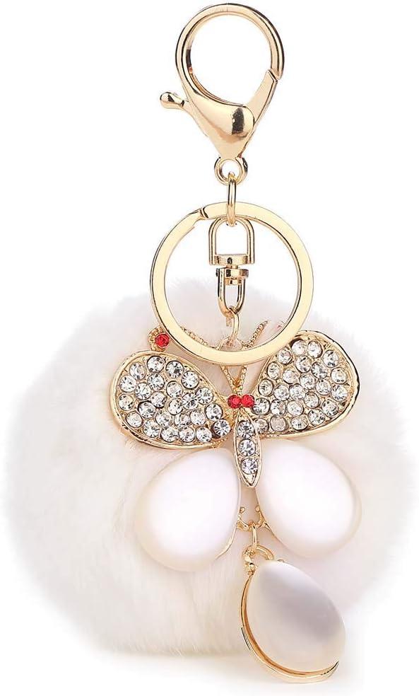 PoJu Llavero 8 cm Pelo de Conejo Colgante de la Bola Diamante Joya Señora de la Mariposa Accesorios del Bolso del teléfono móvil Colgante Colgante del Coche (Color : White)